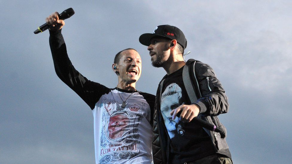 Chester Bennington with fellow band member Mike Shinoda in February