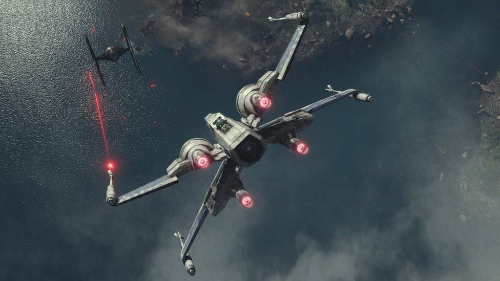An X-Wing fighter taken from a scene from Star Wars: The Force Awakens