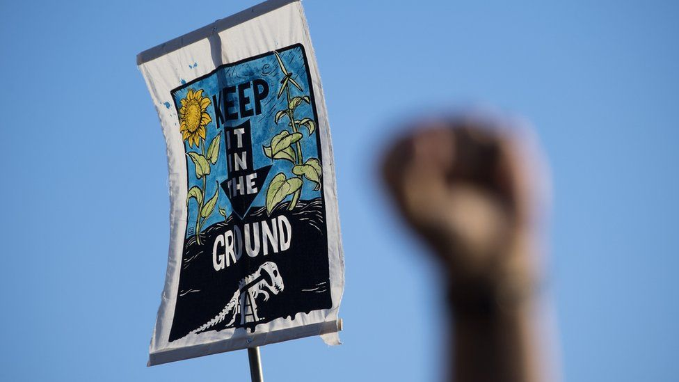 This is a photo of a placard protesting the development of the Dakota Access pipeline.