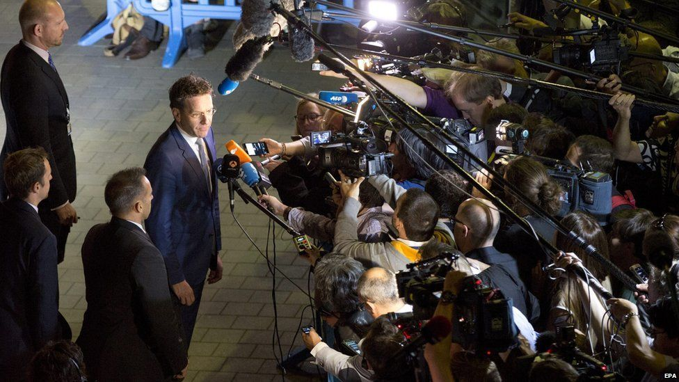 Eurogroup Jeroen Dijsselbloem speaks to reporters at end of finance ministers meeting. 12 July 2015