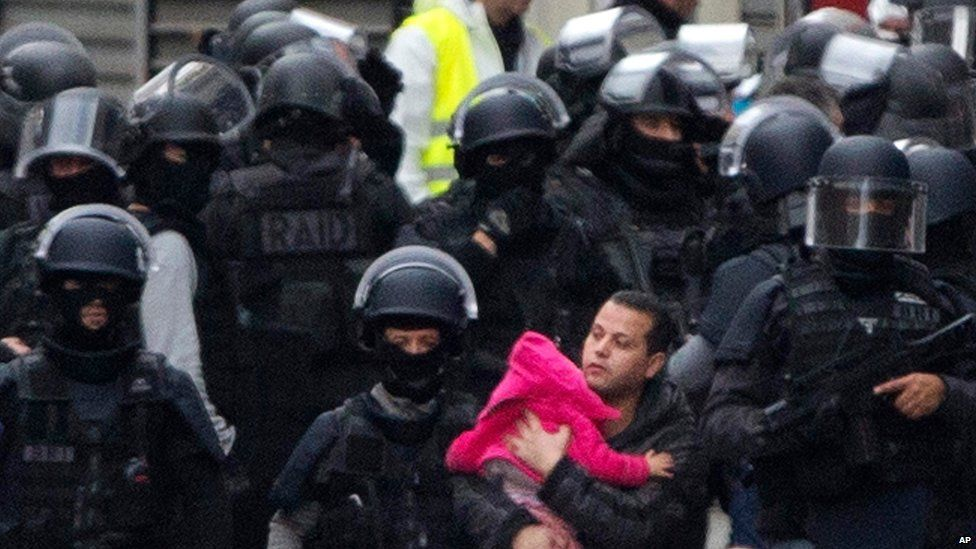 Police in helmets