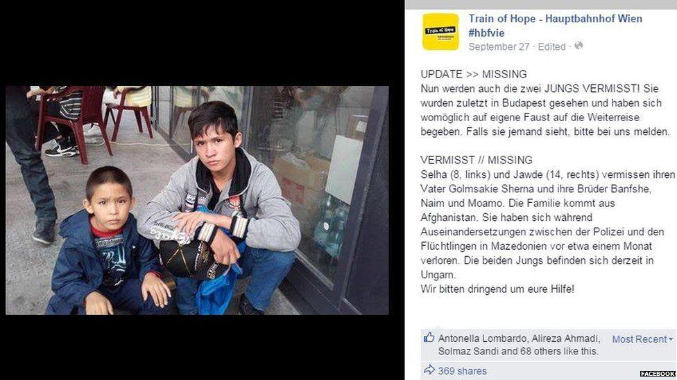Missing Afghan boys Selha and Jawde