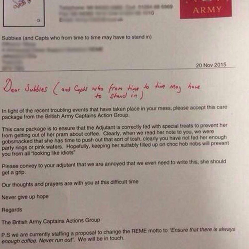 A Mockedup Letter From The 'british Army Captains Action Group'