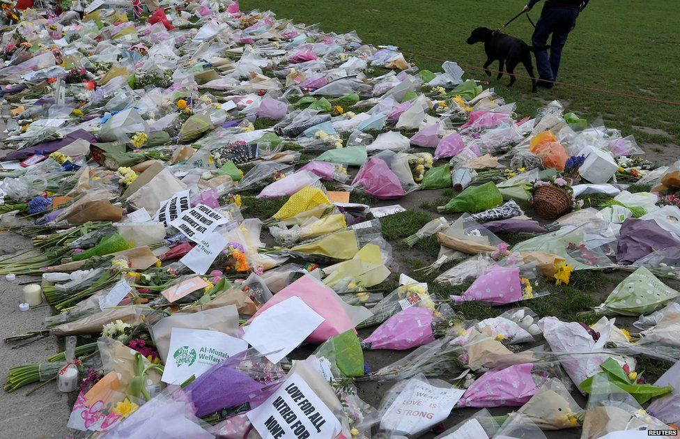 Flowers placed outside the Houses of Parliament