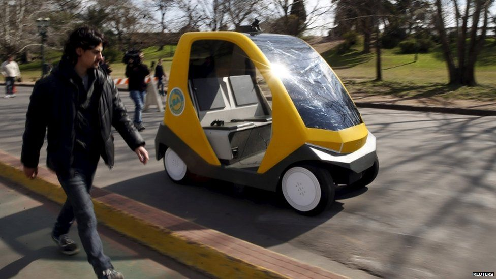 A prototype of an autonomous electric vehicle during its presentation in Buenos Aires