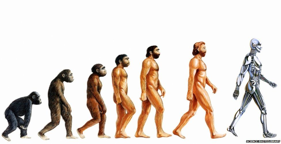 Picture of man evolving into a robot