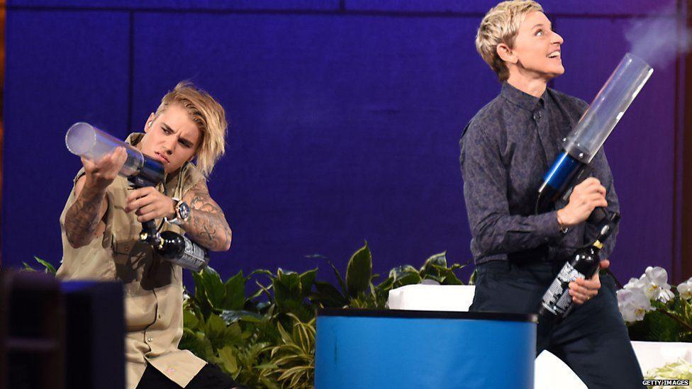 Justin Bieber and Ellen DeGeneres on The Ellen Show