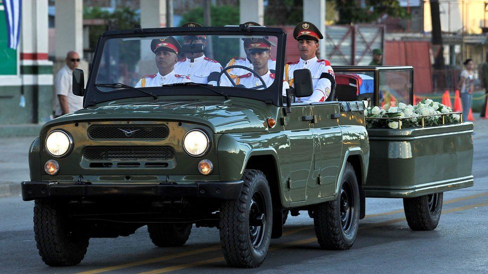 The urn with the ashes of Cuban leader Fidel Castro leaves Revolution Square in Santiago, Cuba on December 4, 2016 on its way to the cemetery