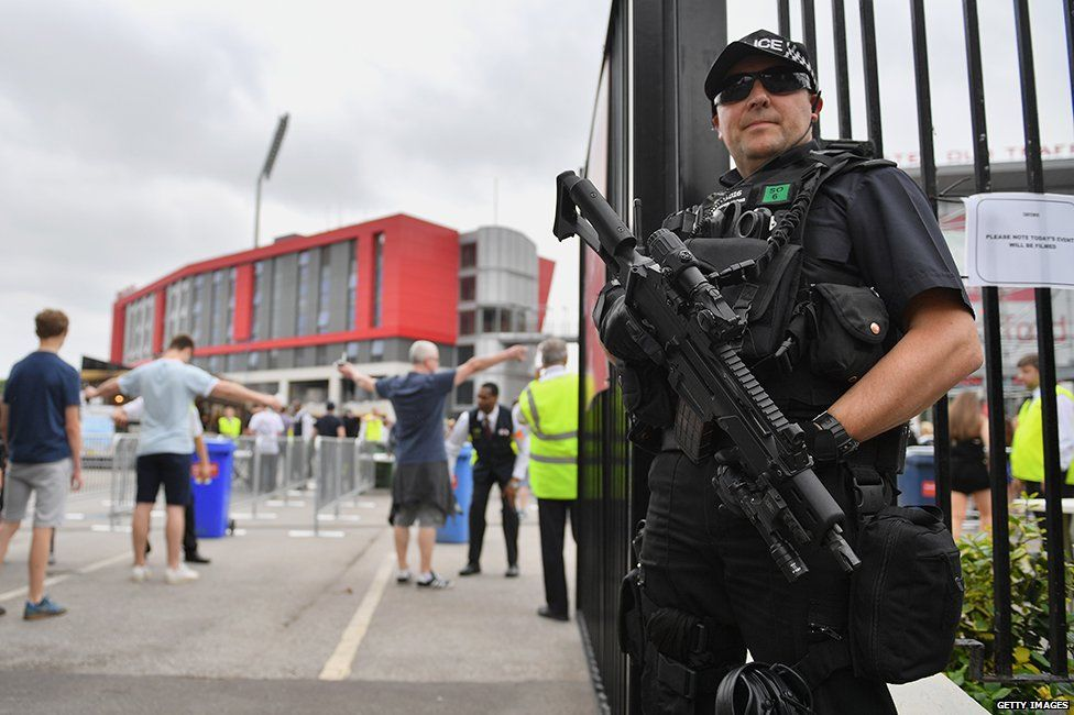 Policeman outside Old Trafford cricket ground