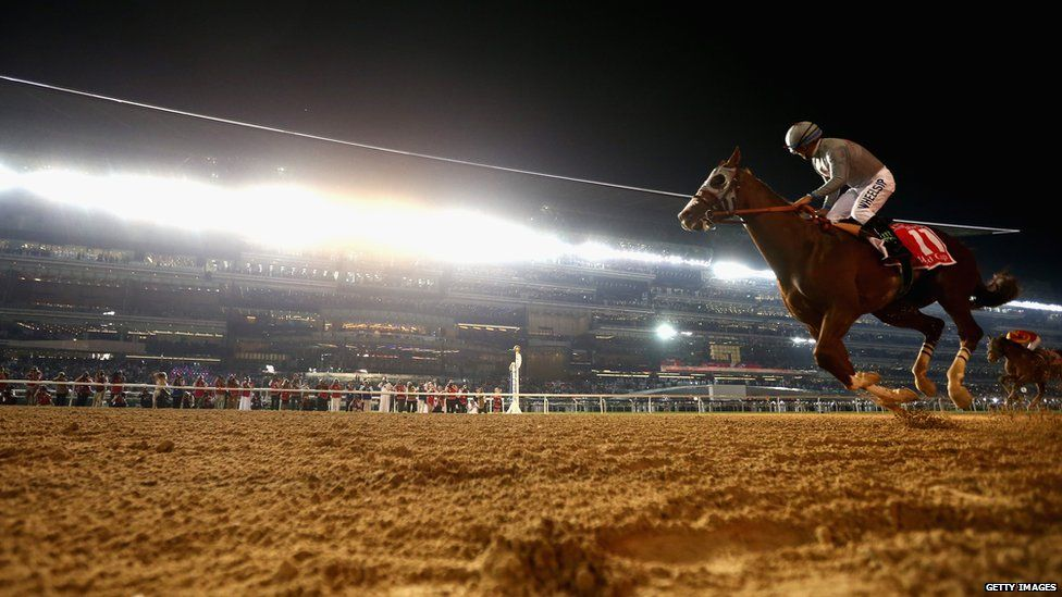 California Chrome winning 2016's Dubai World Cup