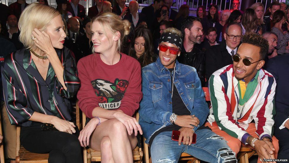 Poppy Delevingne, Lara Stone, Neymar and Lewis Hamilton were among the guests at Hilfiger