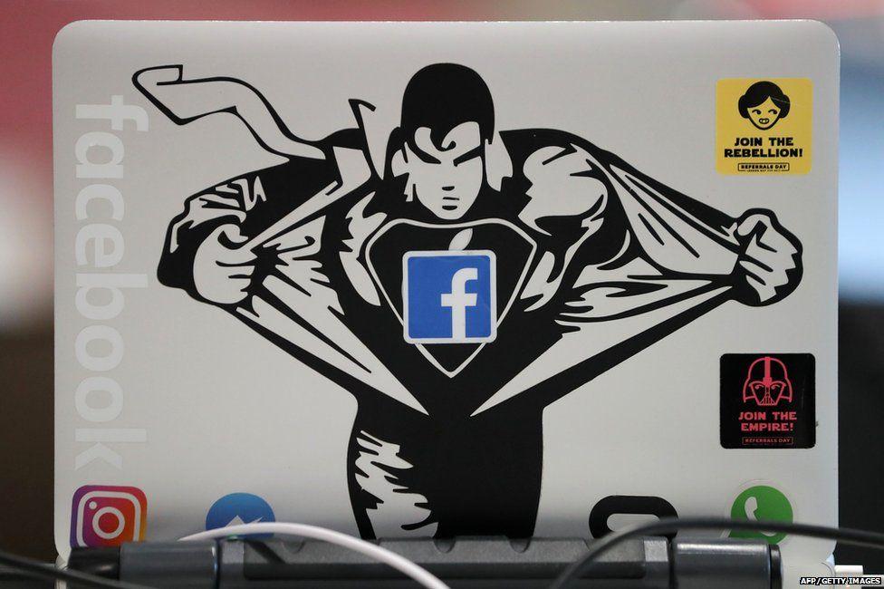 A laptop at Facebook HQ London
