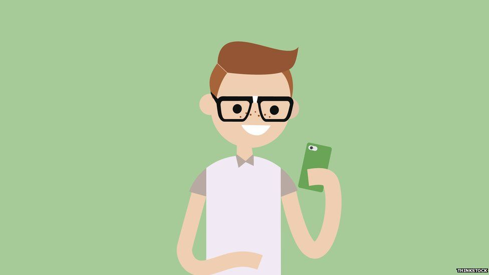 Cartoon man in glasses on his phone