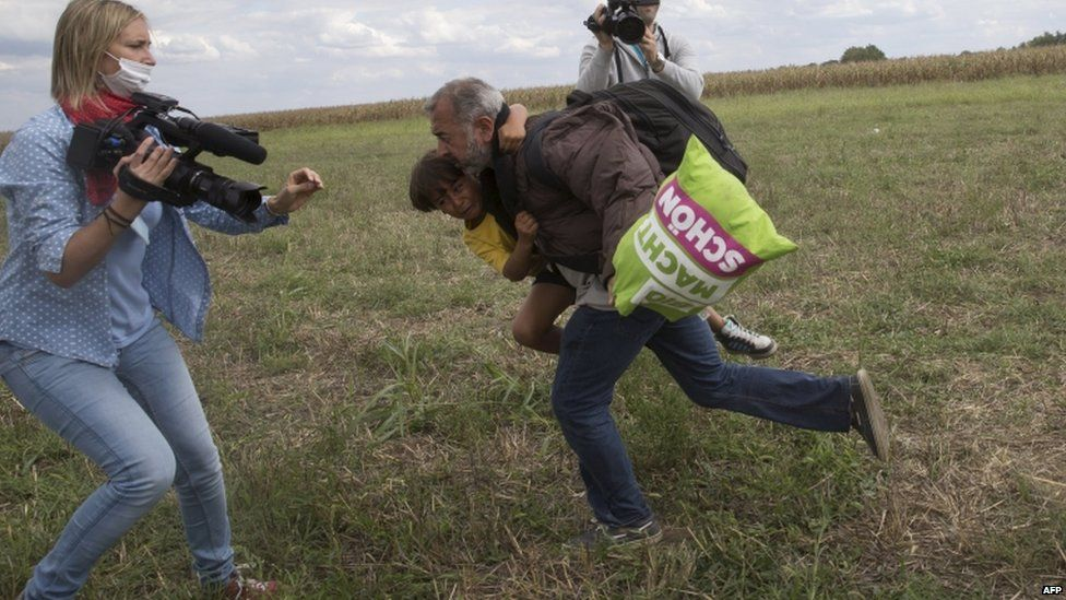 The Syrian refugee family were running across the Hungarian border