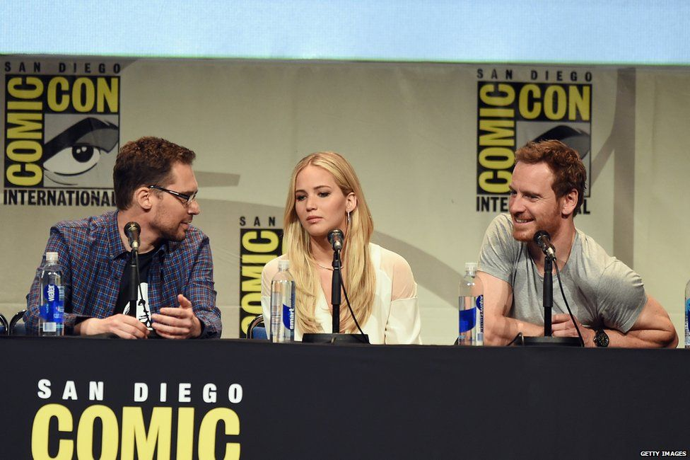 Bryan Singer, Jennifer Lawrence and Michael Fassbender