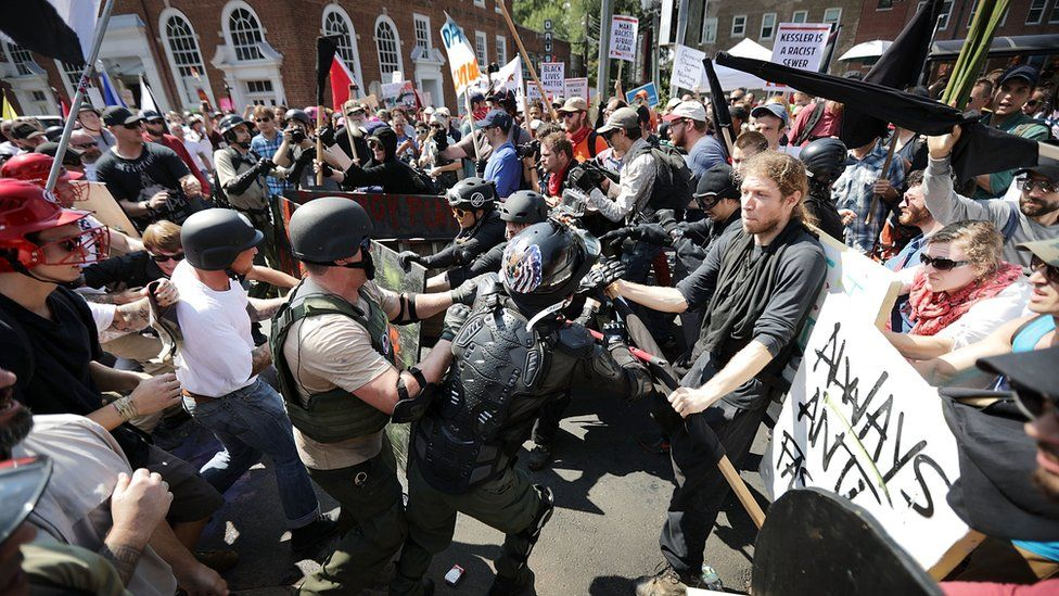 Protesters clash at the 'Unite The Right' rally in Charlottesville