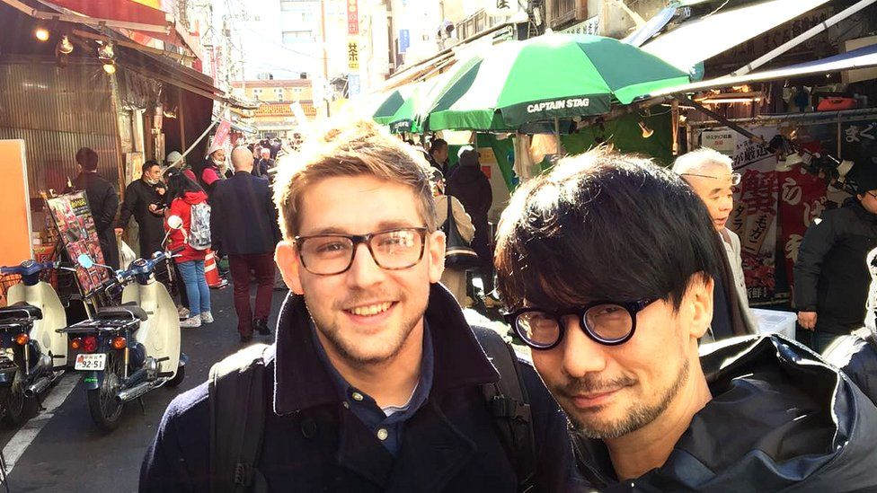 Our gaming reporter Steffan Powell and Hideo Kojima in Tokyo