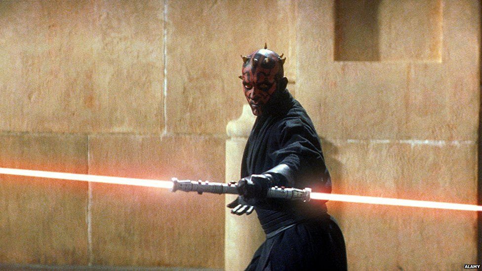 Sith Lord Darth Maul and his double ended lightsaber