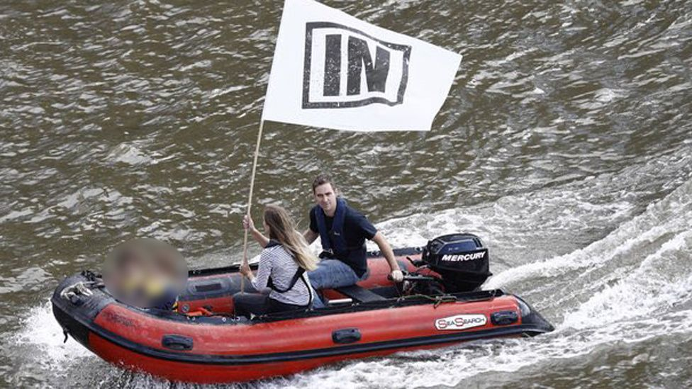Husband Brendan Cox in a dinghy with their two children on the Thames yesterday
