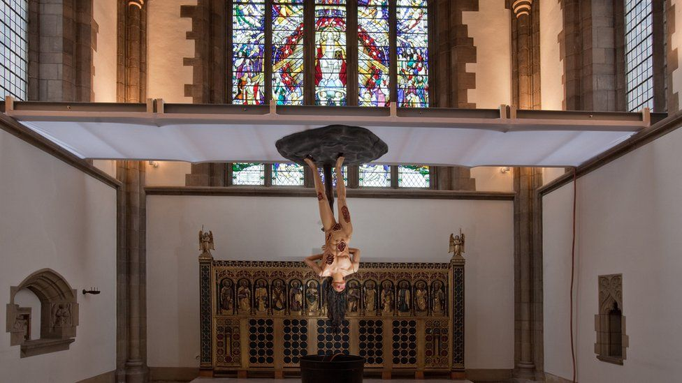 Cyber Iconic Man by Jake and Dinos Chapman in Sheffield Cathedral
