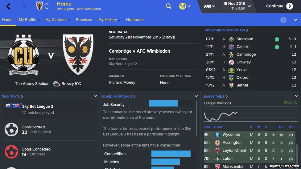 Gameplay footage of Football Manager