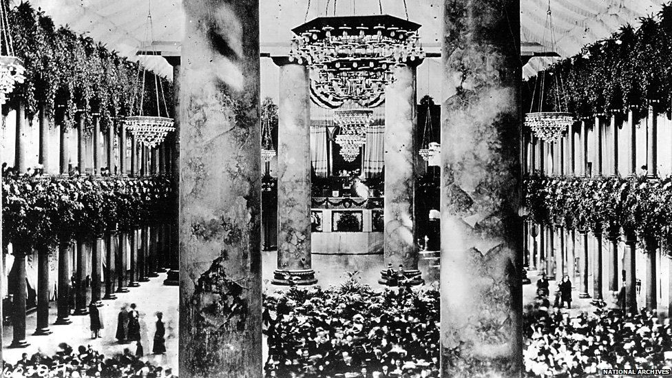 The Inaugural Ballroom in the Pension Office Building, currently the National Building Museum, is decorated for President William H. Taft January 20, 1909