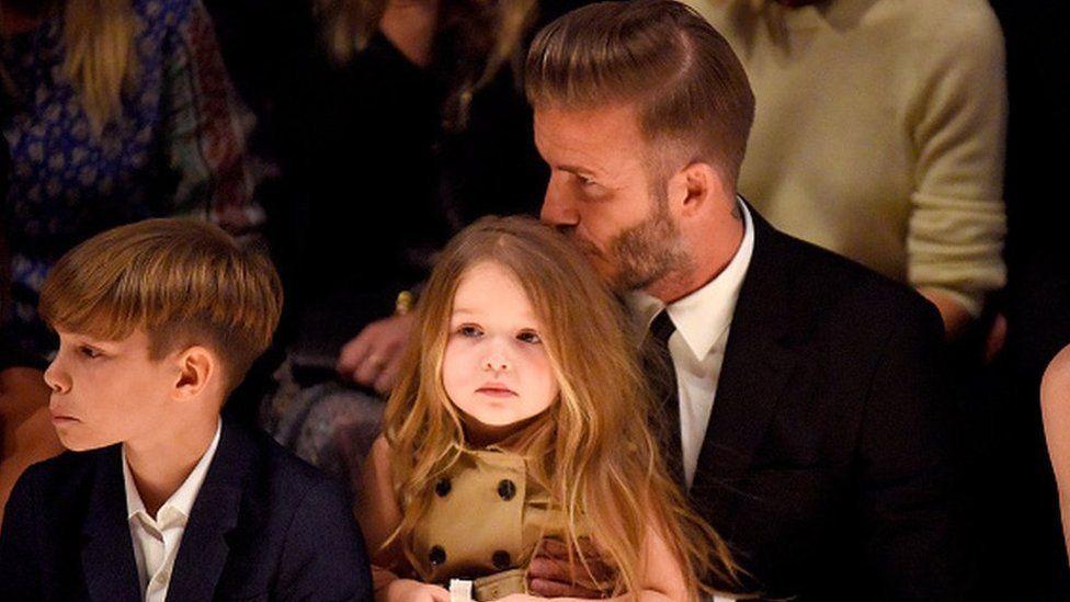 Harper Beckham with Father David Beckham