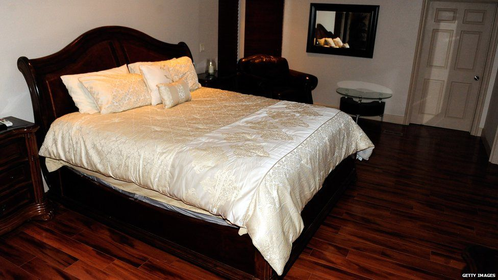 A bed in the Love Ranch brothel