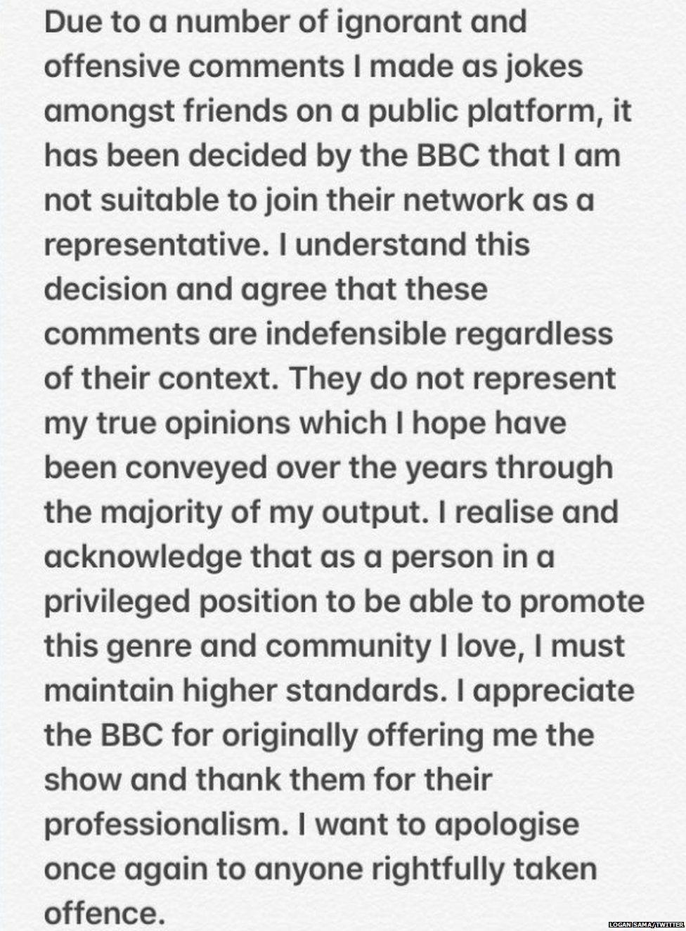 Logan Sama's Twitter statement