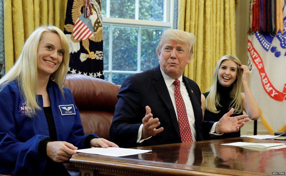 Nasa astronaut Kate Rubins, Donald Trump and Ivanka Trump