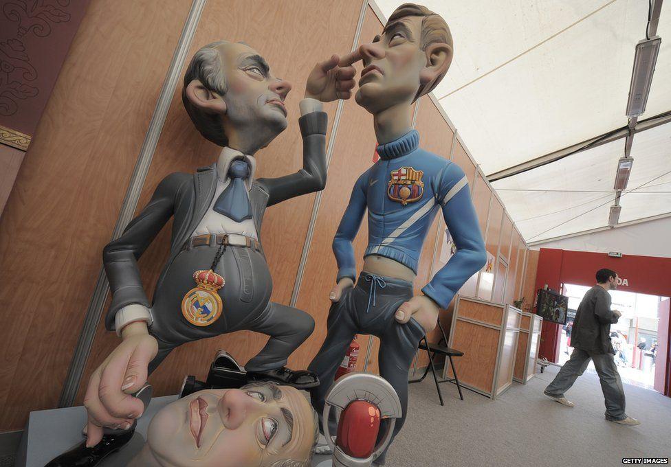 Puppets of Jose Mourinho and Tito Vilanova