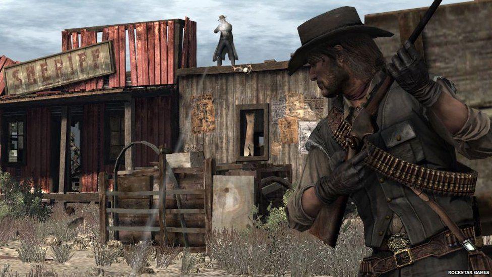 John Marston in a fire fight in Red Dead Redemption