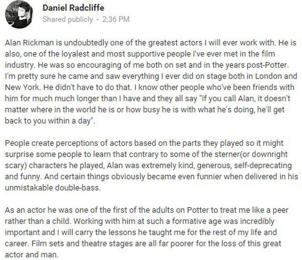 Daniel Radcliffe's message