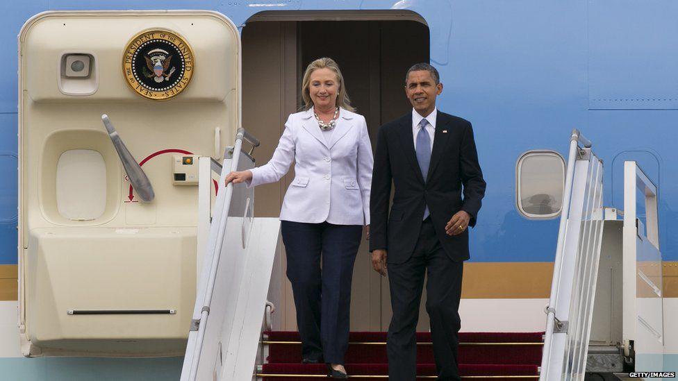 Hillary Clinton and Barack Obama visiting Burma in 2012