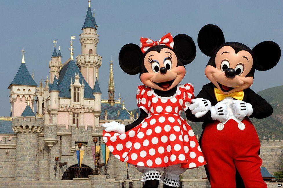 Minnie and Mickey Mouse in Disneyworld Hong Kong