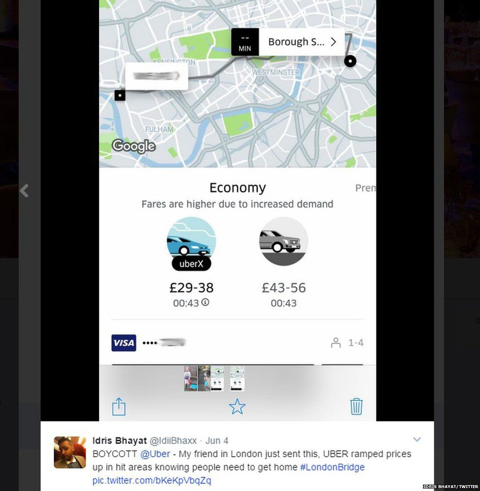 A screenshot suggesting that Uber surge pricing was still on after midnight