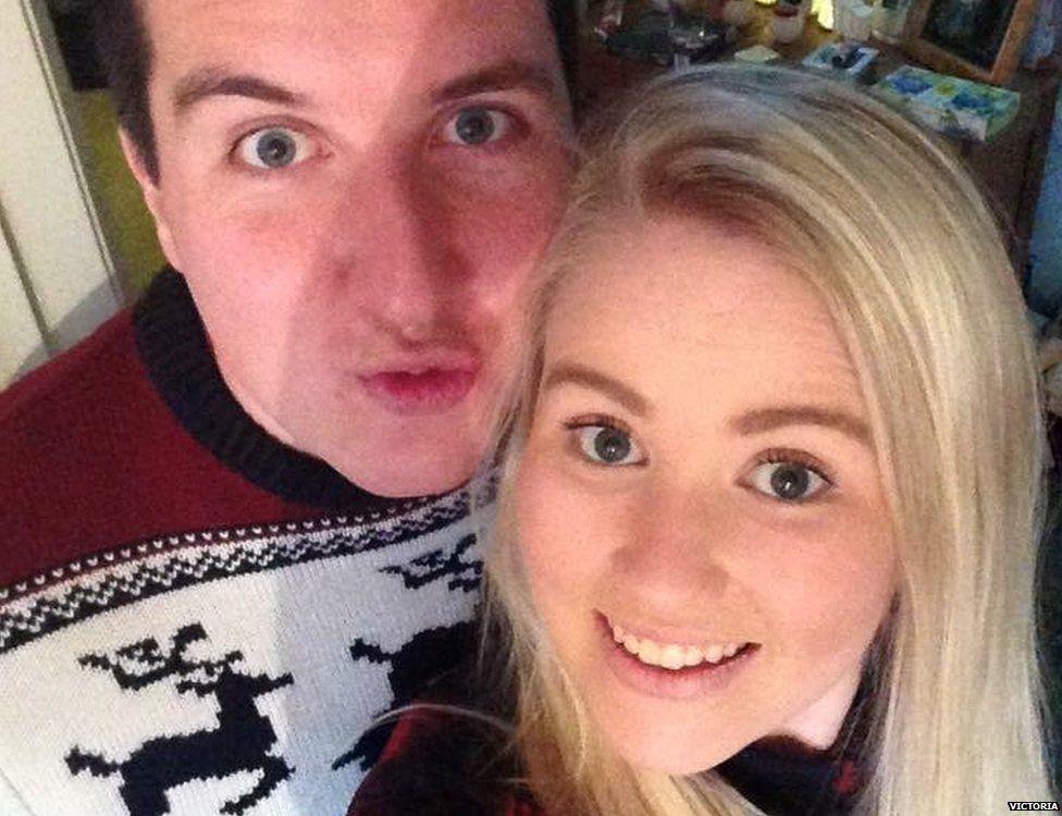 Victoria in a selfie with her boyfriend