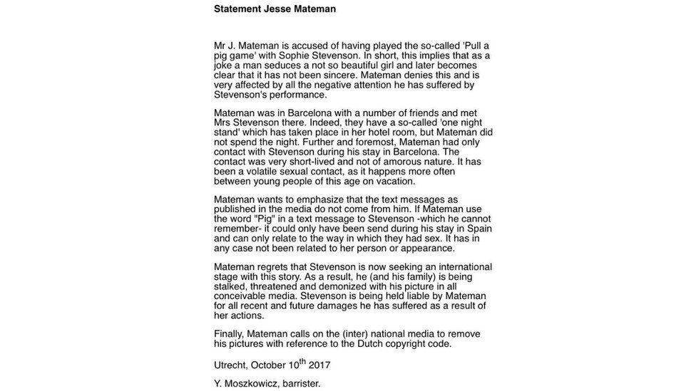 Statement from Jesse Mateman's lawyer