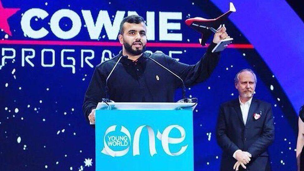 Hussain Manawer making a speech