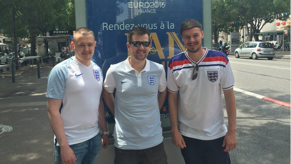England fans Paul, Dave and Adam