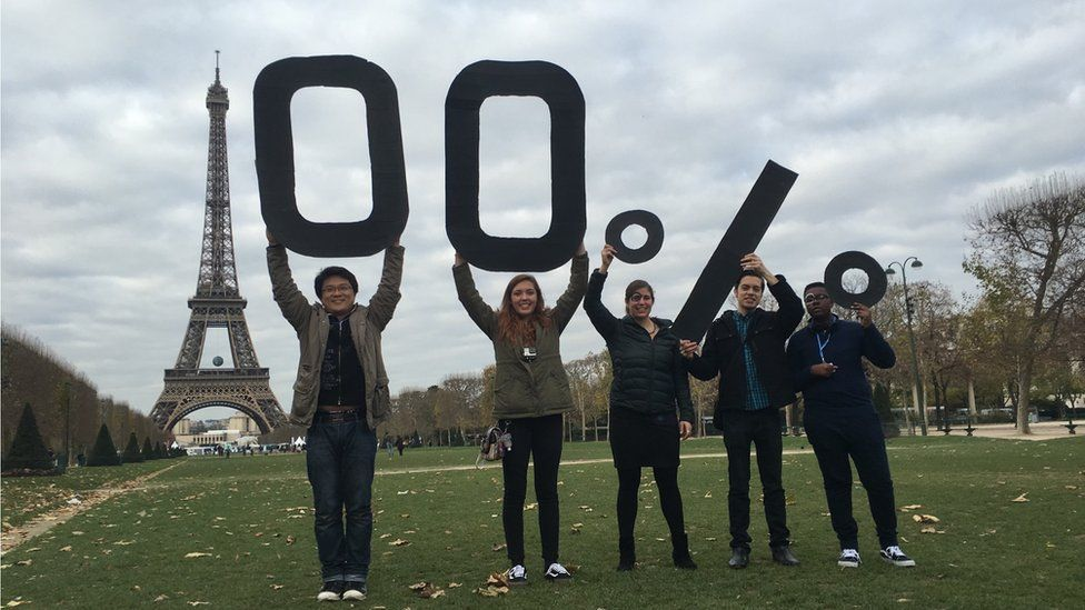 Victoria with other activists in Paris