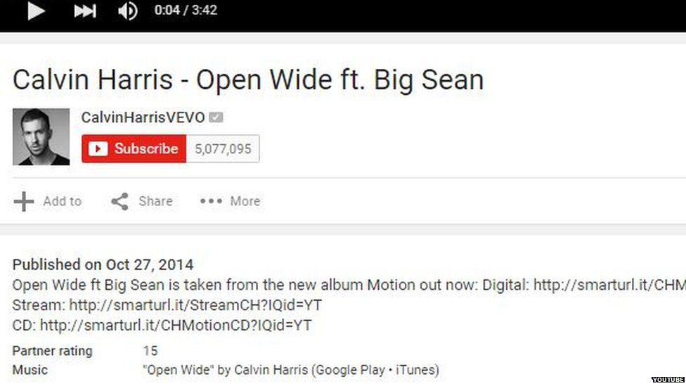 Screen grab of age rating on Calvin Harris music video