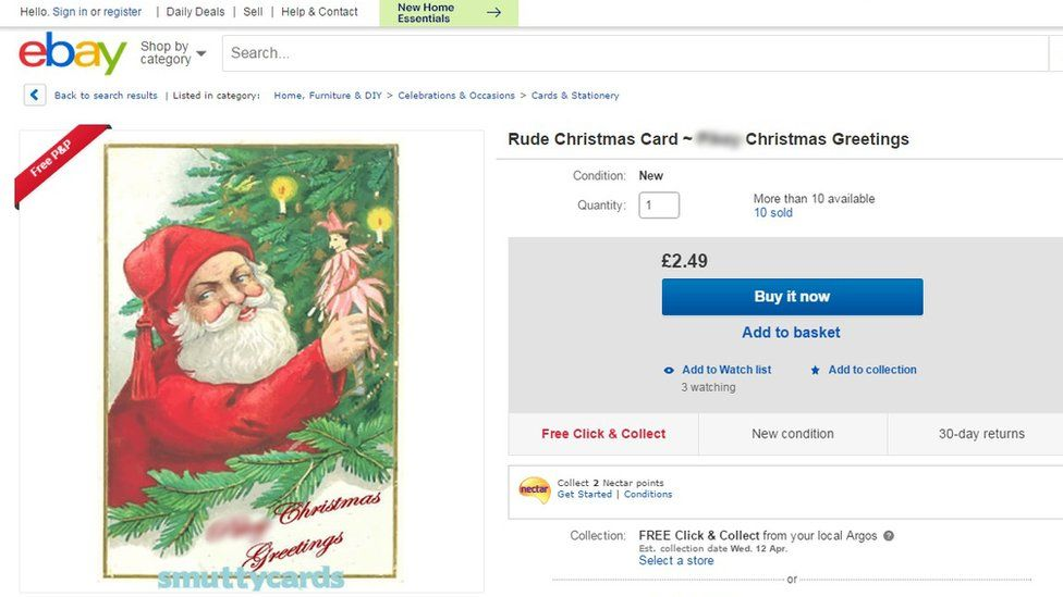 eBay screengrab of Santa stealing decorations Christmas card