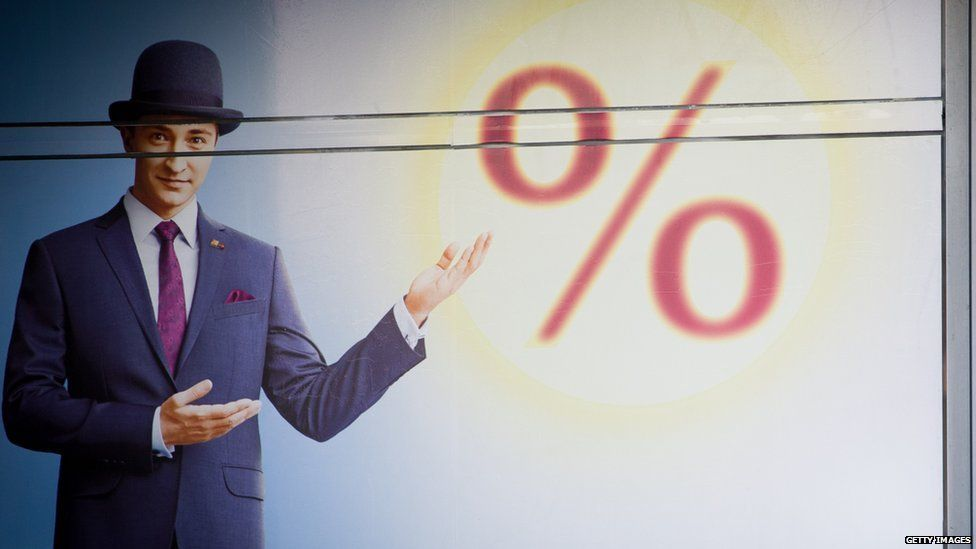 Man posing in front of percentage sign