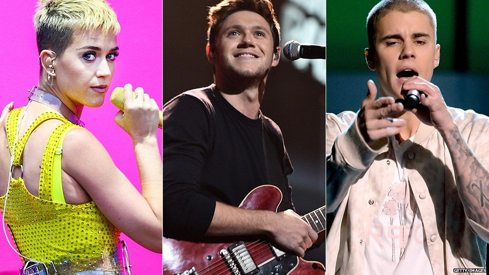 Katy Perry, Niall Horan, Justin Bieber