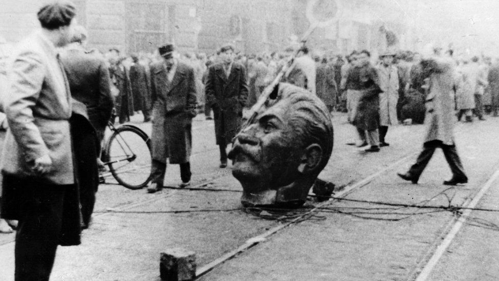 A sculpted head of Stalin was knocked off its statue during an anti-Russian demonstration in Budapest during The Hungarian Revolution of 1956.