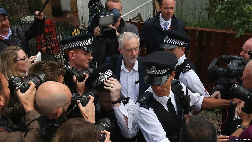 Labour Leader Jeremy Corbyn leaves his house
