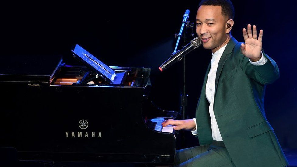 John Legend plays warn hire gig during St Pancras in London