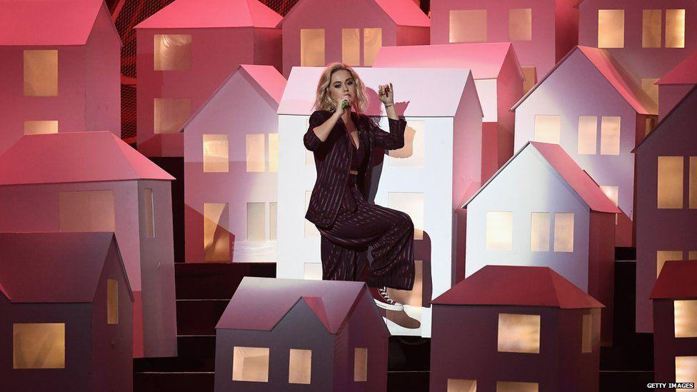Katy Perry performing at the brits