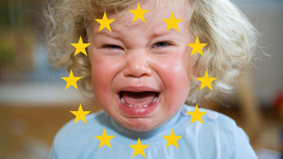 A child crying over the EU